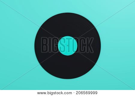 Vinyl Record On Blue Background