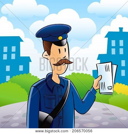 Postman delivering letters. Friendly postman in blue uniform with bag and and the letters in his hands on city background. Vector illustration