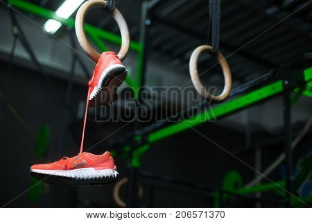 Wooden steady ring, still ring with crimson sneakers hanging on it on pink shoelaces, equipment for a gym, sports routine on a dark blurred background.