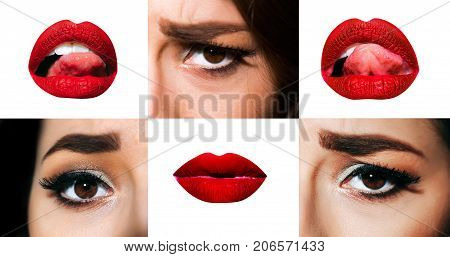 Eye lips tongue of young girl. Emotional part of woman's face. Emotions on the face with make-up mouth with red lipstick eyes with mascara and shadows. Creative set isolated on white background