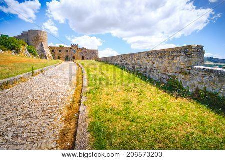 castle entrance driveway bovino - apulia - italy