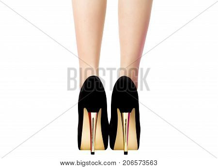 Female legs in black shoes with gold heels, rear view. Elegant sexy woman at a party or date with bare long legs. Beautiful women's ankle isolated on white background