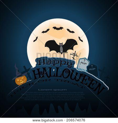 Vector Helloween poster with full moon flock of bats vampire headstone grave crosses pumpkin text on the gradient dark blue background.