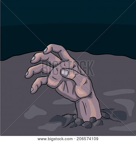 halloween zombie hand protruding under out earth cartoon vector