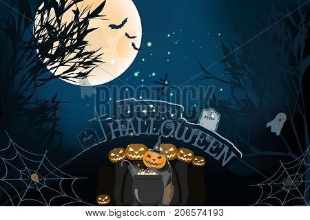 Vector wide poster for Halloween with silhouettes of trees full moon bats headstones grave crosses ghosts group of wizards magic cauldron spider net on the gradient dark blue background.