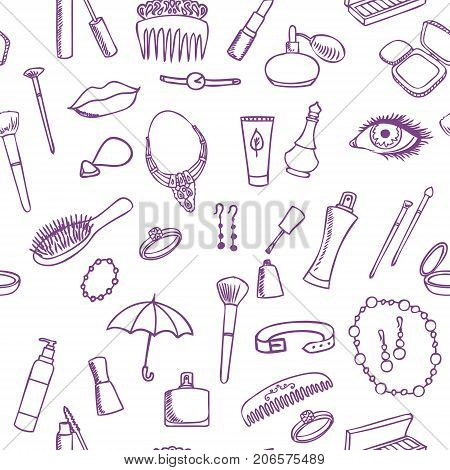 beauty fashion accessory seamless sketch pattern vector