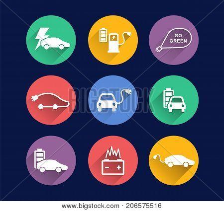 electric car vector icons set, bright flat concept