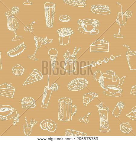 food and drinks vector seamless pattern sketch