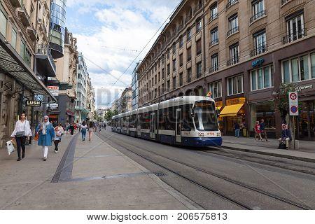 GENEVA, SWITZERLAND - August 9, 2017: Tram in the street of Geneva, Switzerland