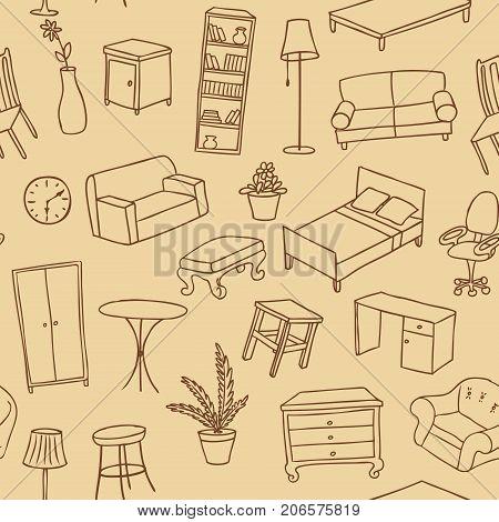Furniture hand drawn seamless vector pattern, brown sketch