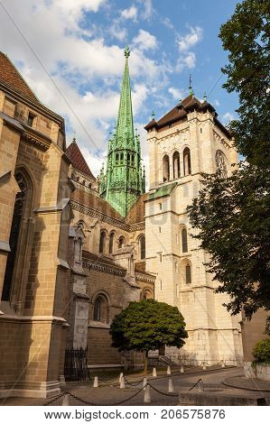St Pierre Cathedral in the old town in Geneva, Switzerland