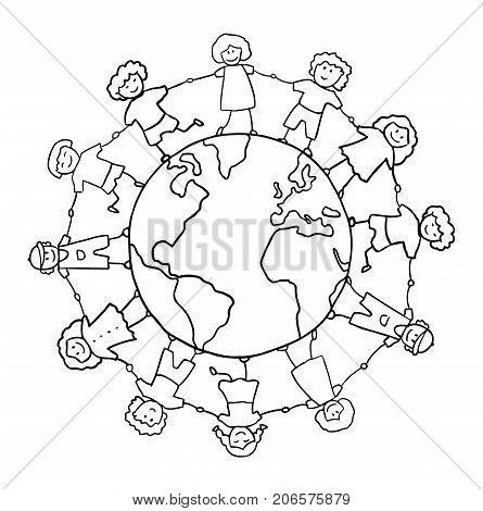 children holding for hands around planet vector, friendship concept
