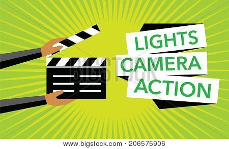 cimena concept green background with clapboard vector