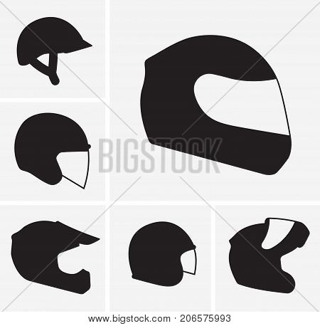Motorcycle helmets vector silhouette, safety equipment goods