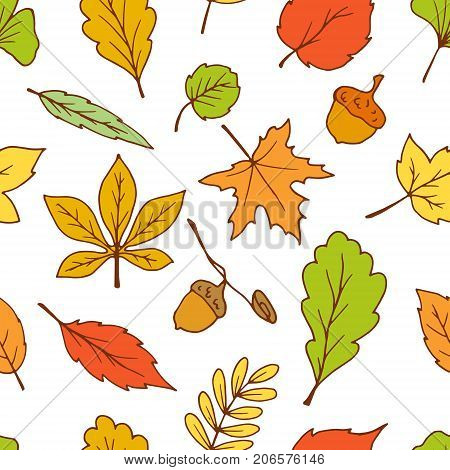 bright doodle leaves seamless pattern vector, autumn background