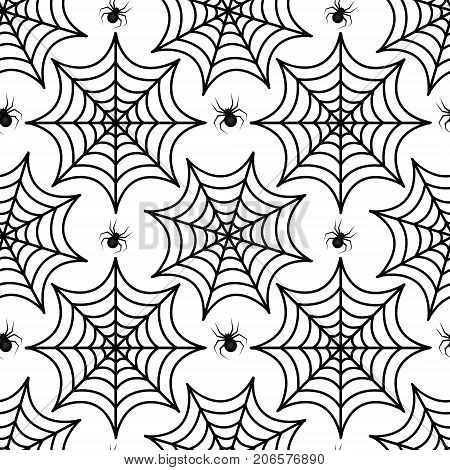 Cobweb seamless pattern. Spider repetitive texture. Halloween endless background. Vector illustration