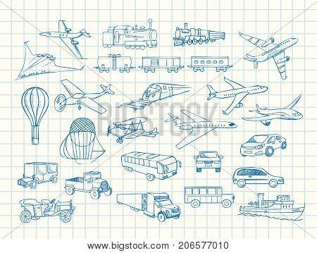 transport hand drawn vector sketch in copybook