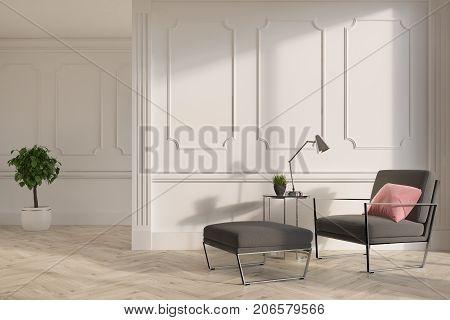 Upscale living room interior with white walls and a wooden floor. A soft gray armchair with a pink pillow on it and a potted tree. 3d rendering mock up