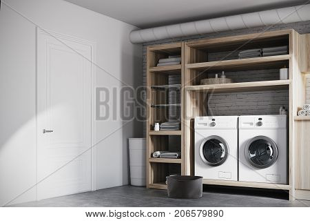 White And Wooden Laundry Room Interior Corner
