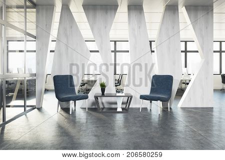Office Waiting Area, Blue Armchairs