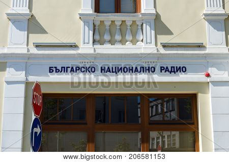 BURGAS BULGARIA - AUGUST 20 2017: Regional office of Bulgarian National Radio. Burgas is the second largest city on the Bulgarian Black Sea Coast.