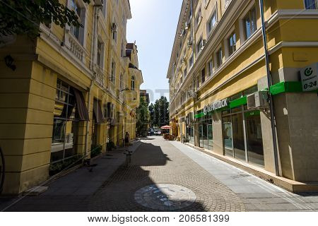 BURGAS BULGARIA - AUGUST 20 2017: Lane and office of DSK Bank (State Savings Bank). DSK Bank - is a major Bulgarian bank.