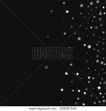 Random Falling Stars. Scatter Right Gradient With Random Falling Stars On Black Background. Majestic