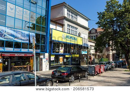 BURGAS BULGARIA - AUGUST 20 2017: Second-hand clothing store - Humana. Burgas is the second largest city on the Bulgarian Black Sea Coast.