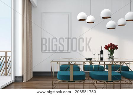 White Cafe Interior, Blue Chairs