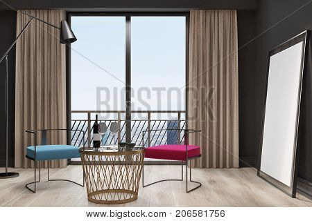 Black Living Room Interior, Blue And Red Armchairs