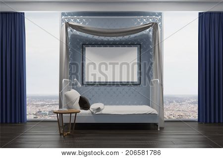 Blue Bedroom With A Poster