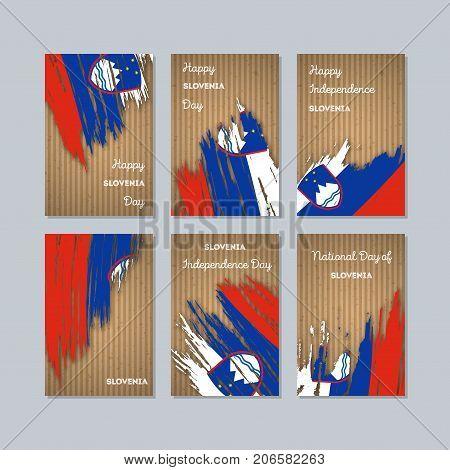 Slovenia Patriotic Cards For National Day. Expressive Brush Stroke In National Flag Colors On Kraft