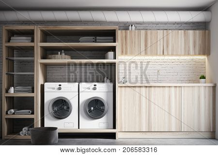 Modern laundry room interior with white brick walls wooden consoles and shelves with two white washing machines. Close up. 3d rendering