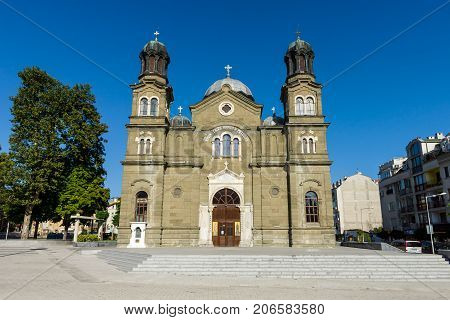 BURGAS BULGARIA - AUGUST 20 2017: The Cathedral of Saints Cyril and Methodius. Burgas is the second largest city on the Bulgarian Black Sea Coast.