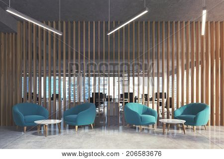 Waiting Area In Office, Blue Armchairs