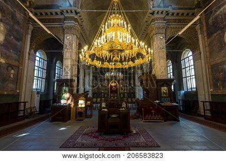 BURGAS BULGARIA - AUGUST 20 2017: Interior of the Church of Saints Cyril and Methodius in Burgas.