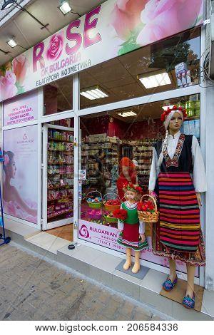 POMORIE BULGARIA - AUGUST 19 2017: Shop of traditional Bulgarian cosmetics
