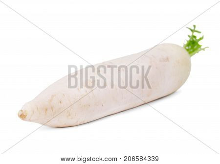 Close-up of a white turnip, isolated on a white background. Ingredients for summer healthy salads and diets. Nutritious vegetables for health-giving dishes.