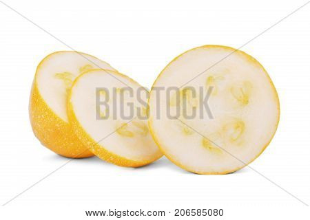 Close-up picture of three slices of fresh, natural and raw zucchini, isolated on a white background. Perfect round slices of yellow zucchini with seeds. Summer ingredients.