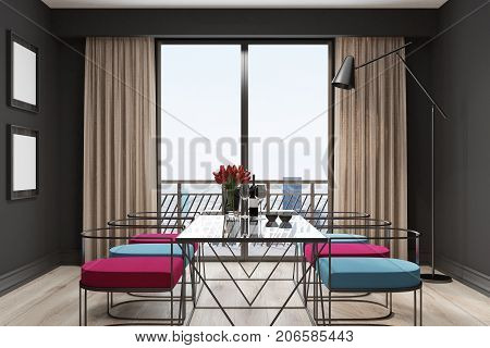 Black Cafe Interior, Blue And Red Chairs Side