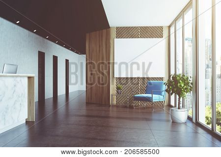 Marble And Wooden Elevator Hall, Poster Blue Toned