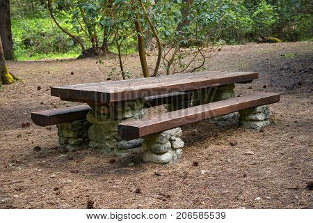 Nice large picnic table in nature setting
