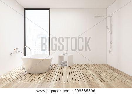 Wooden Floor Bathroom And Shower