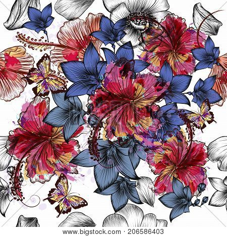 Beautiful tropical engraved hand drawn flowers in vintage style
