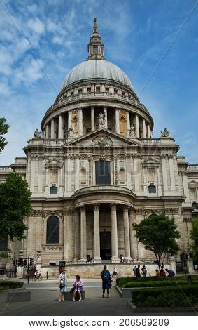 LONDON-UNITED KINGDOM, May 29 2017:  St Paul's Cathedral is one of the most famous and recognisable sights of London. Its dome, has dominated the skyline for over 300 years in London, UK.