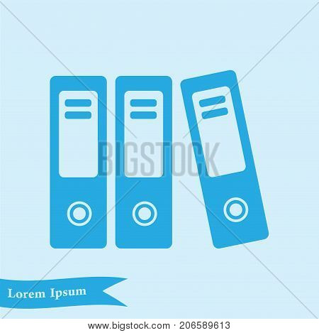 Office folders with papers and documents. Archives folder icon.