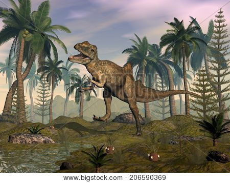 Concavenator dinosaur roaring in the desert with palmtrees by sunset - 3D render