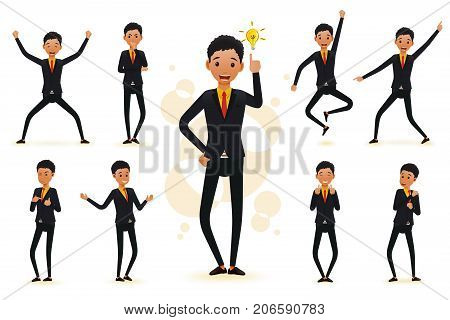 Male Funny Black African Businessman 2D Character Ready to Use Set, Wearing Suit and Tie Standing Position with Different Facial Expressions and Gestures in Isolated White Background. Vector Illustration.