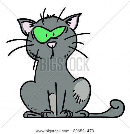 Puzzled cat hand drawn cartoon. Colorful artwork with color on separate layer.