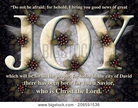 Joy Christmas Holly Angel Card